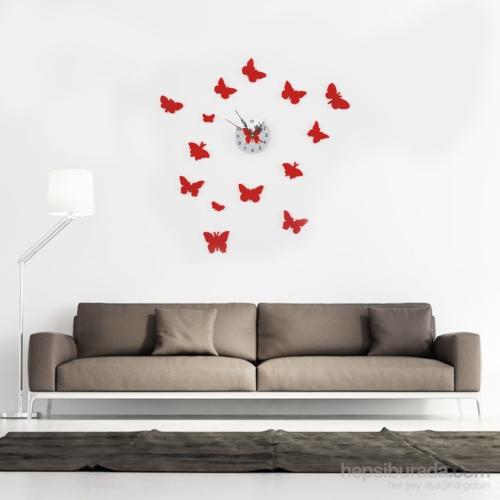 Vip Kelebek Tasarımlı Duvara Yapışan Saat
