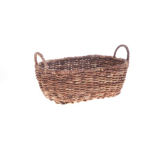 Bacbac Hasır Oval Sepet Koyu Kahverengi Küçük