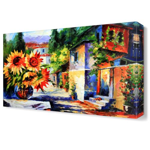 Dekor Sevgisi Ayçiçeği Kasabası Canvas Tablo 45x30 cm