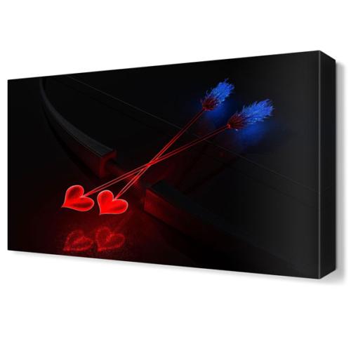 Dekor Sevgisi Işıklı Aşk Okları Tablosu 45x30 cm