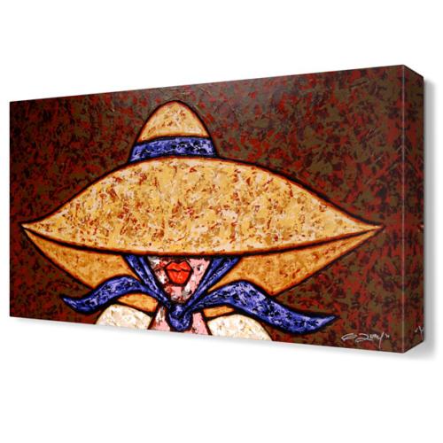 Dekor Sevgisi Büyük Şapkalı Kadın Tablosu 45x30 cm