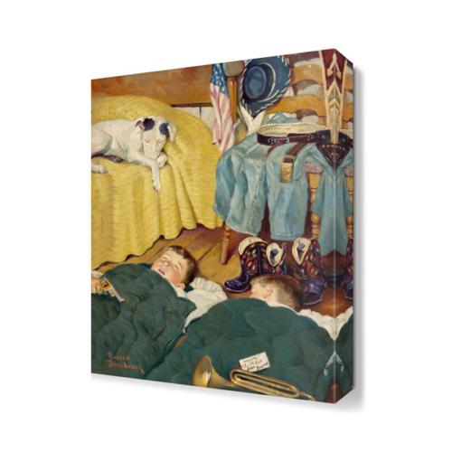 Dekor Sevgisi Uyuyan Çocuklar ve Köpek Tablosu 45x30 cm