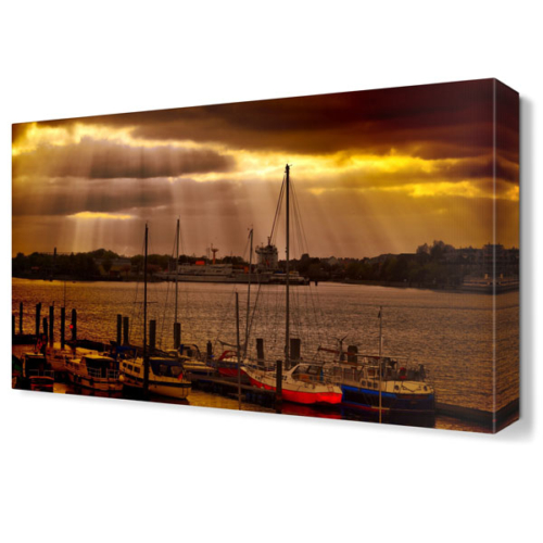 Dekor Sevgisi Gemiler ve Kayıklar Gece Tablosu 45x30 cm