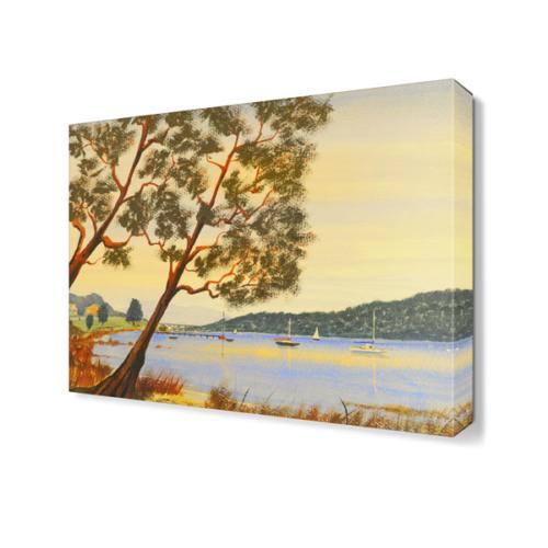Dekor Sevgisi Nehir Kıyısı Ağaç Tablosu 45x30 cm