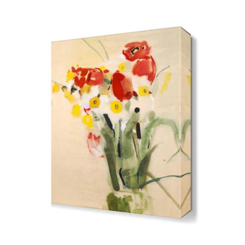 Dekor Sevgisi Sarı Kırmızı Çiçekler Tablosu 45x30 cm