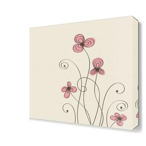 Dekor Sevgisi Pembe Çiçek 3 Canvas Tablo 40x40 cm