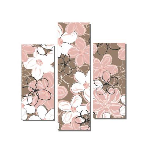 Dekor Sevgisi Dekoratif Pembe Çiçekler Tablosu 80x80 cm