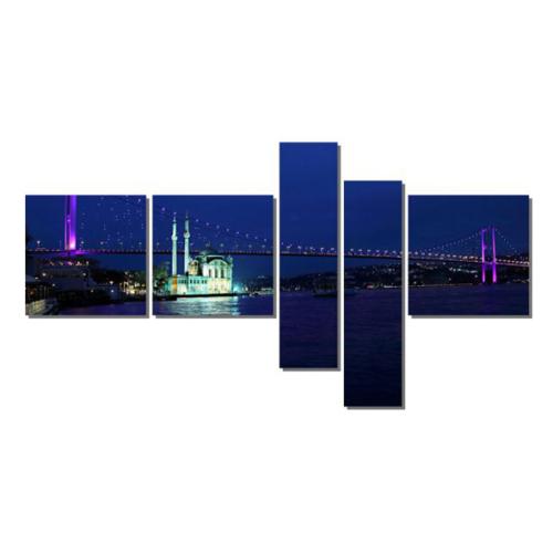 Dekor Sevgisi Mor Işıklı Boğaz Köprü Tablosu 90x170 cm
