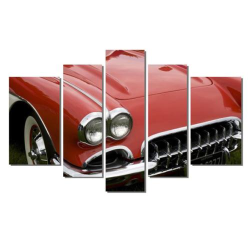 Dekor Sevgisi Kırmızı Cadillac Eldaro Tablosu 84x135 cm