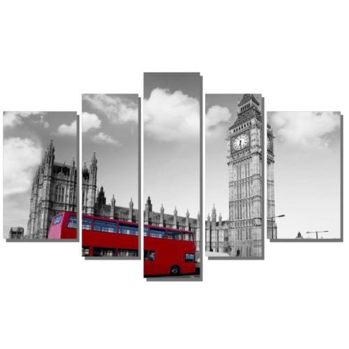 Dekor Sevgisi Kırmızı Otobüs ve Big Ben Tablosu 84x135 cm