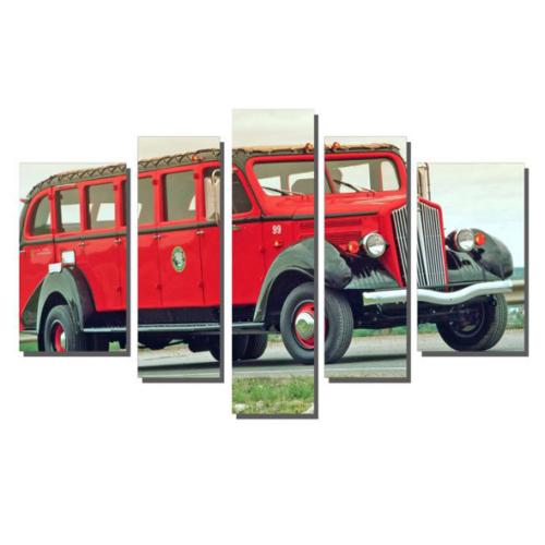 Dekor Sevgisi Kırmızı Minibüs Tablosu 84x135 cm