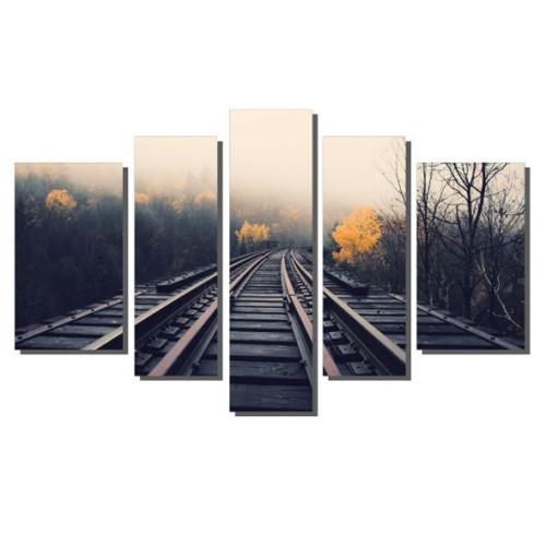 Dekor Sevgisi Tren Yolu ve Sarı Ağaçlar Tablosu 84x135 cm
