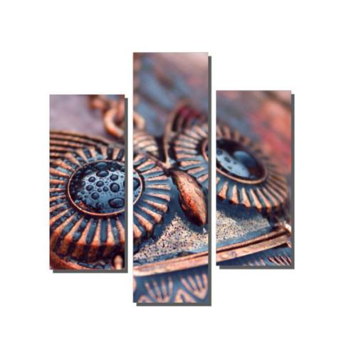 Dekor Sevgisi 3 Parçalı Baykuş Kolye Tablosu 80x80 cm
