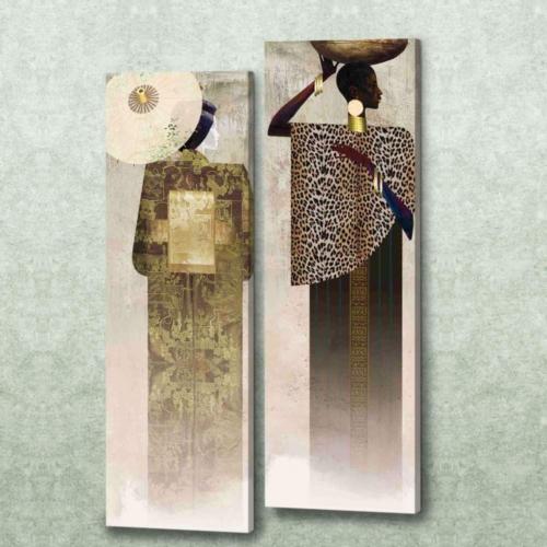 Decor Desing Etnik Desenli İki Parçalı Dik Kanvas Tablo Seti Chne065