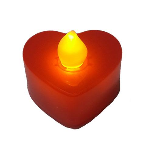 Tvshopmarket 24 Adet Kalp Kırmızı Led Tealight Mum
