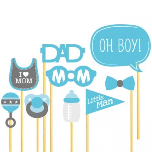 Little Man Konuşma Balonu Parti Çubukları Seti