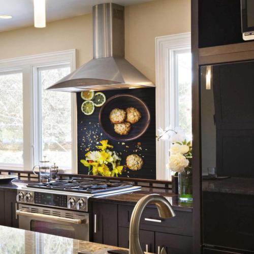 Kokmaz Bulaşmaz Silinebilinir Mutfak Çiçekler ve Limonlar Sticker 58 x 52 cm