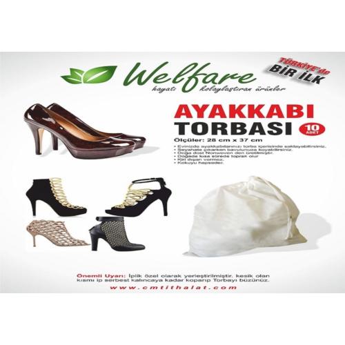 Original Boutique Ayakkabı Torbası 10 Adet Bayan Siyah Krem (Video)