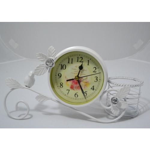 Ferforje Masa Saati Sepetli Beyaz