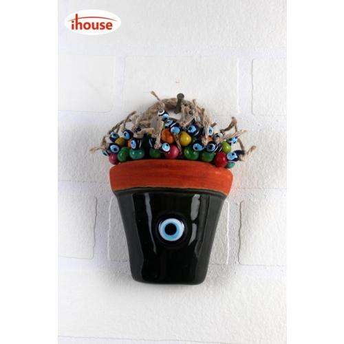 iHouse İh116 Küçük Halatlı Nazar Boncuklu Saksı Duvar Süsü Yeşil