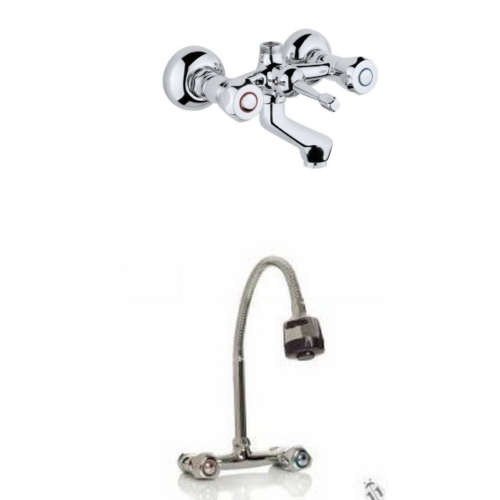 Erce Klasik Çevirmeli Banyo Ve Spiralli Lavabo Bataryası