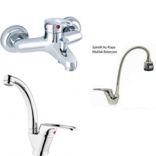 Erce Mix Spiralli Evye + Kuğu Lavabo Ve Banyo Bataryası