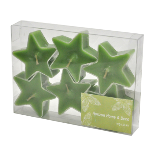 Tealight Pvc kutu Yıldız 6'Lı Yeşil Elma