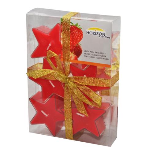 Tealight Pvc Kutu Yıldız 6'Lı Kırmızı