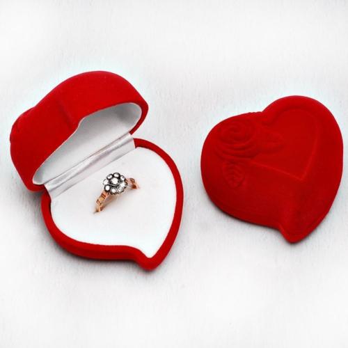 Tesbihane Kırmızı Kadife Kalp Yüzük Kutusu