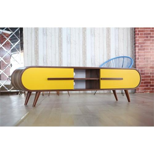 Te Home Oval Çift Çekmece Tv Ünitesi Ceviz-Sarı