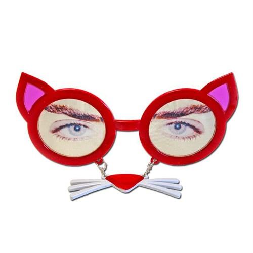 Pandoli Bıyıklı Kedi Gözlüğü Kırmızı