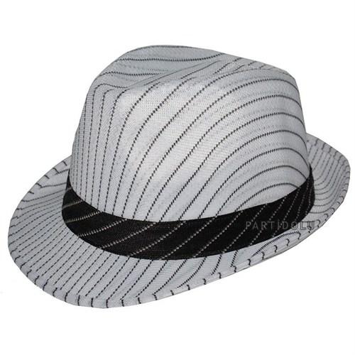 Pandoli Beyaz Üzeri Siyah Çizgili Fötr Şapka