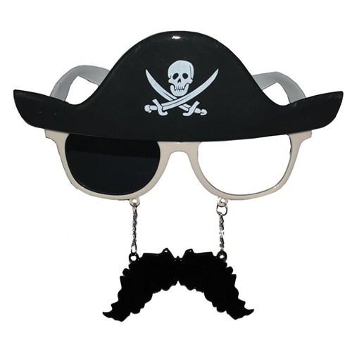 Pandoli Bıyıklı Korsan Kurukafalı Parti Gözlüğü Siyah
