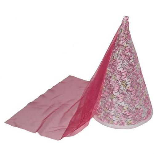 Pandoli Pembe Dantel İşlemeli Tüllü Helene Hatun Şapkası