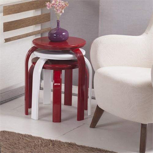 Evmanya Haus Yuvarlak Zigon Sehpakırmızı-Beyaz-Kırmızı