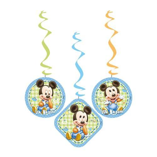 Partisepeti Baby Mickey Mouse İlk Yaşım Asma İp Süs