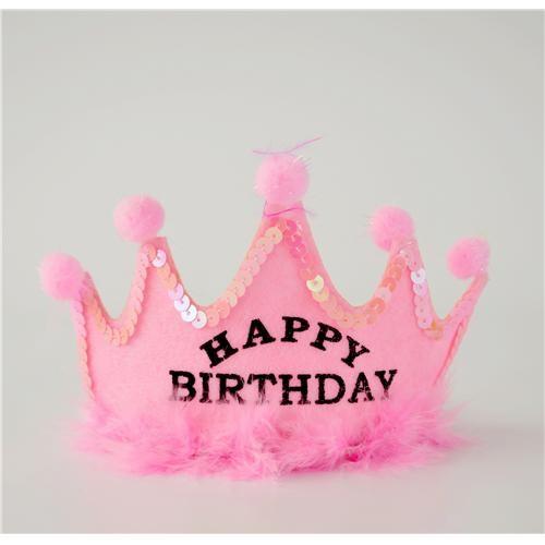 Pembe Prenses Happy Birthday Taç