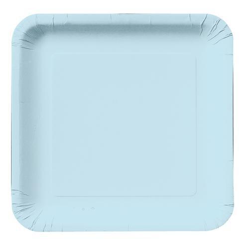 Açık Mavi Kare Tabak 12 Adet 23Cm