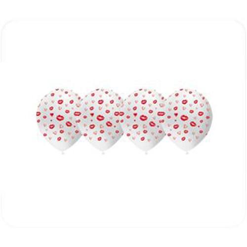 KullanAtMarket Kırmızı Dudak Baskılı Beyaz Balon