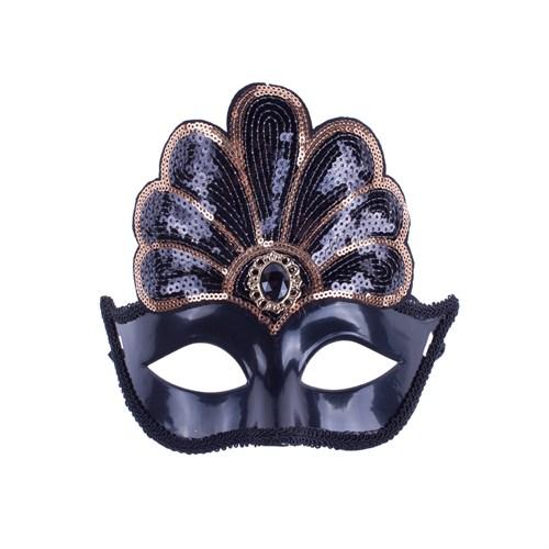 KullanAtMarket Siyah Payetli Balo Maskesi