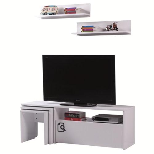 Carla Home Search Raflı Zigonlu Beyaz Tv Ünitesi