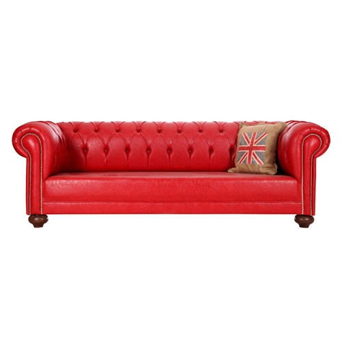 3A Mobilya Red Leather Chesterfield