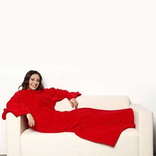 Hardymix Giyilebilir Kollu Polar Battaniye-Kırmızı