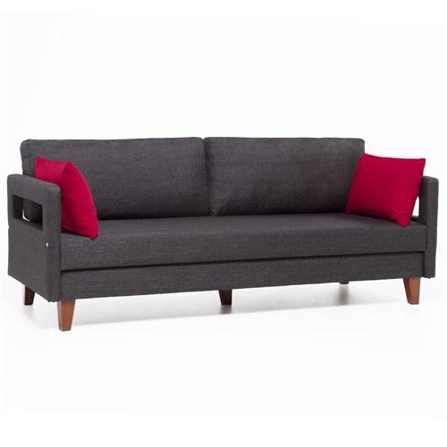 Evdebiz Comfort Yaşam Serisi Yataklı Kanepe Kırmızı Yastıklı