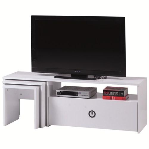Carla Home Power Zigonlu Beyaz Tv Sehpası
