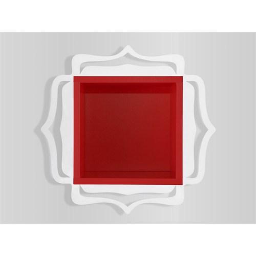 Decortie Ottoman Raf Beyaz-Kırmızı