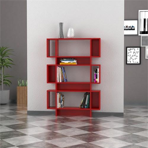 Decortie Poligon Kitaplık Kırmızı