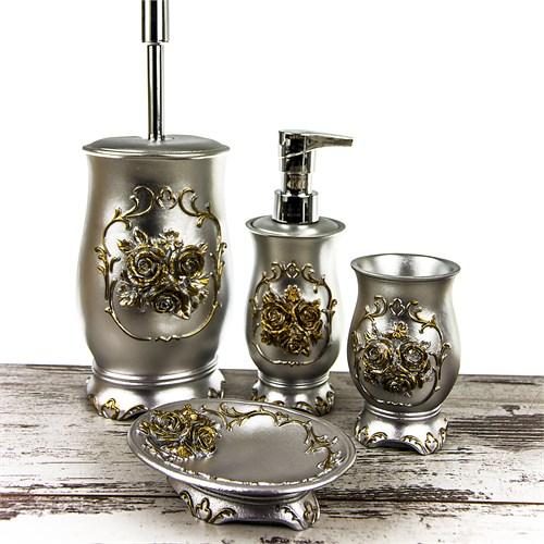 Mukko Home Rose Gümüş 4 Parça Banyo Takımı