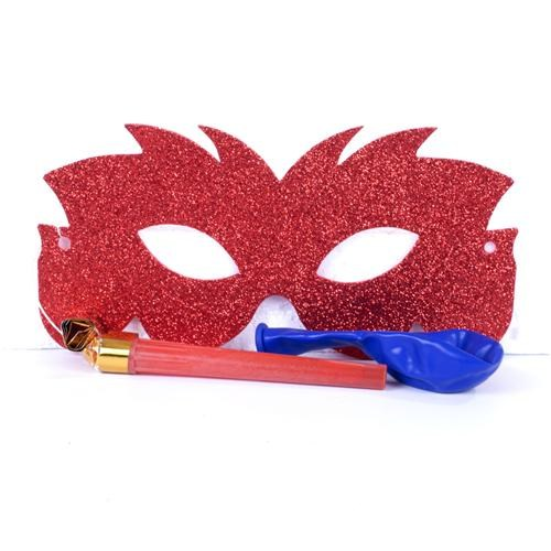 Partisepeti Kırmızı Parti Maskesi Kaynana Dili Ve Balon