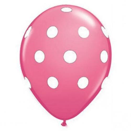 Fuşya Üzerine Beyaz Puanlı Balon